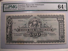 Pick # S254r 1920 ECUADOR 100 SUCRES PMG Certified 64 Choice Uncirculated NET