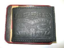 New NIB Levi's Men's Leather Wallet Bifold ID Black 31LP2212
