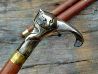 Antique Brass Cat Head Handle Wooden Vintage Style Walking Stick Designer Cane