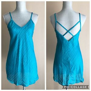 Morgan Tayor Intimates Teal Chemise Strapy Back Lingerie Small Semi-sheer