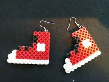 Perler Bead Red Sneakers Dangle Earrings