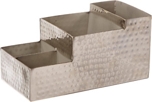 American Metalcraft Hammered Stainless Steel Coffee Caddy 4 Compartments