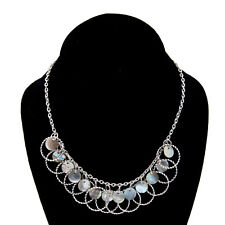 "Adjustable Silver Tone Chain Link Mother of Pearl Shell Disc Necklace 15""-18"""