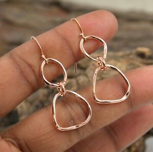 Solid 925 Sterling Plain Silver Rose Gold Plated Handmade Earring Jewelry