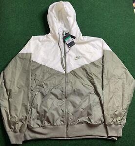 Nike Sportswear Full Zip Windrunner Jacket Size XL Khaki Green/White AR2191-380