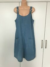 Women's yours clothing blue denim ring detail pinafore dress size 16.  NEW