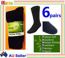 6Pairs 90% BAMBOO SOCKS Men's Heavy Duty Thick Work Socks Cushion BULK New Black