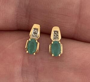 9ct Gold Emerald & Diamond Stud Earrings, 9k 375