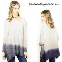 BOHO Gypsy Ivory Purple Hippie Ombre Tie Dye Sharkbite Tunic Sweater Top M L XL