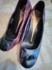 J Shoes Noir/Violet élégant en cuir compensées Taille 6