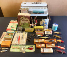 Lot of vintage fishing lures with Umco tackle box, Heddon, Shakespeare, CA Clark