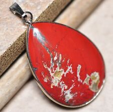 "Bloodstone Jasper Sea Sediment Quartz Natural Gemstone 1.75"" Silver Pendant #42"