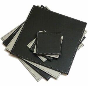 Reversible FAUX LEATHER Placemats & Coasters Set FLIP Mats SQUARE Grey BLACK