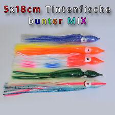 5 Tintenfische 18cm bunter MIX Leng Heilbutt Oktopus Angeln Angelhotspot X1