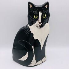 Cats By Nina Lyman Ceramic Vase Green Eyed Tuxedo Cat Hand Painted Signed B1