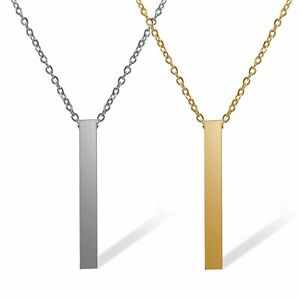 Personalized Custom Stainless Steel Necklace Carved Name Vertical Bar Necklace