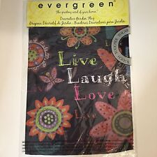 """NEW Evergreen Live Laugh Love Black Floral Sub Suede Garden Flag  12"""" X 18"""""""