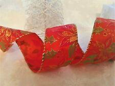 Eleganza POINSETTIA Holly & Berries Christmas - Luxury Wire edge Satin Ribbon