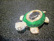 Daniel Swarovski Signed Crystal & Green Guilloche Enamel Turtle Brooch Rare 219