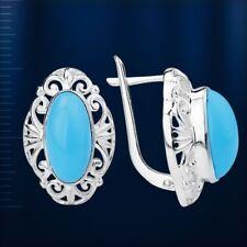 Ohrschmuck mit Türkis blau Caboshon Russische Ohrringe Sterling Silber 925 Neu