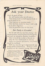 MAGAZINE AD #A2-047 - 1800s to early 1900s SCHLITZ BEER - ASK YOUR DOCTOR