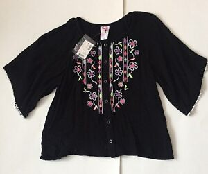 NWT Justice Black Button Down Fiesta Top 10