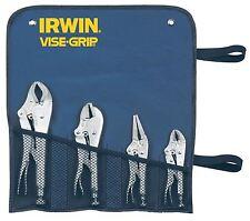 Irwin Vise Grip Mole Grip Locking Plier Set in Tool Roll Wallet Straight Long