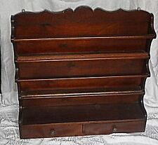 ANTIQUE FRENCH DOUBLE SHELF PLATE RACK WITH 2 DRAWERS WOOD VISUALLY BEAUTIFUL
