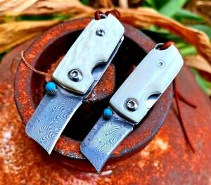 Mini Wharncliffe Folding Knife Pocket Hunting Survival Tactical Damascus Steel S