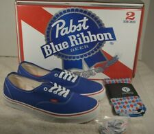 NEW Pabst Blue Ribbon PBR Vans Authentic Shoes Size 12 Men's Socks Shoe Strings