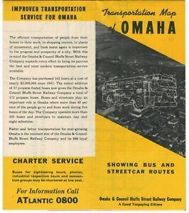 circa 1950 Omaha & Council Bluffs trolley, bus route map