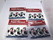 4 Vtg Penguins Scarfs Hat 9ft Paper Christmas Cut Out Garland Decoration Mip 3�