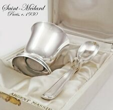 Boxed French Art Deco Sterling Silver 2pc Breakfast Set - Egg Cup and Spoon