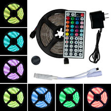 5M (16.4 ft) LED Strip Light SMD 5050 RGB+44 Key Remote+Power Adapter Full Set