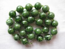 Vintage Marbled Spinach Green Early Plastic Large Beads Necklace