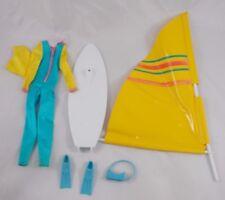Mattel Barbie Wind Surfing Board Wetsuit Flippers Lot Has Issues