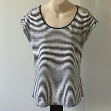 'SPORTSCRAFT' EC SIZE 'XS' BLUE & WHITE STRIPE CAP SLEEVE TOP WITH SEQUINS
