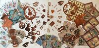 Craft clearout mix,card toppers, die cuts, Vintage bundle joblot Alice in wonder