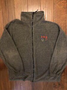 Mens Team USA Olympics Full Zip Sweater Grey Size XL