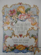 To Love and Cherish Beaded Wedding Record Sampler Cross Stitch Kit Floral