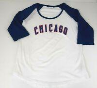 5th & Ocean Chicago Raglan T Shirt Womens Sz Large L White Blue 3/4 Sleeve Tee