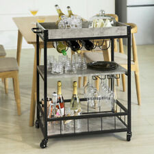 SoBuyHome Serving Trolley with Wine Rack & Marble Effect Shelves FKW56-HG,UK