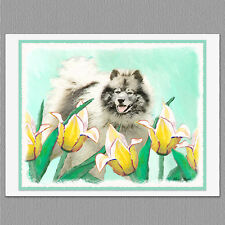 6 Keeshond in Tulips Dog Blank Art Note Greeting Cards