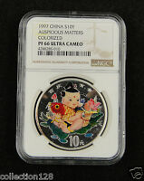 CHINA Silver Coin 10 Yuan 1997, Colorized, Auspicious Matters, NGC PF 66
