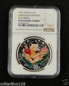 CHINA Silver Coin 10 Yuan 1997, Colorized, Auspicious Matters, NGC PF 66