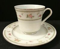 """Vintage Abingdon China Footed Cup & 6.5"""" Bread Plate Made in Japan Pink Roses"""