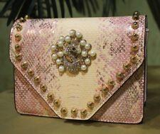 Schlangenleder Optik Handtasche Damentasche Clutch Gürteltasche Pfau Strass Rosa