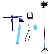 Selfie Stick Blau+Bluetooth Fernbedienung für IOS&Android Smartphone +Gratis Fuß