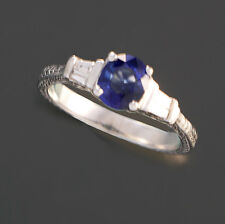 DECO BLUE SAPPHIRE DIAMOND PLATINUM RING | SIZE 6