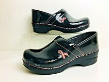 Dansko Breast Cancer Awareness Black Patent Leather Pro Clogs Shoes 40 / 9.5 10